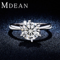 MDEAN Round White Gold Plated Wedding Rings For Women AAA CZ Diamond women engagement rings jewelryAccessories Bijouterie MSR318
