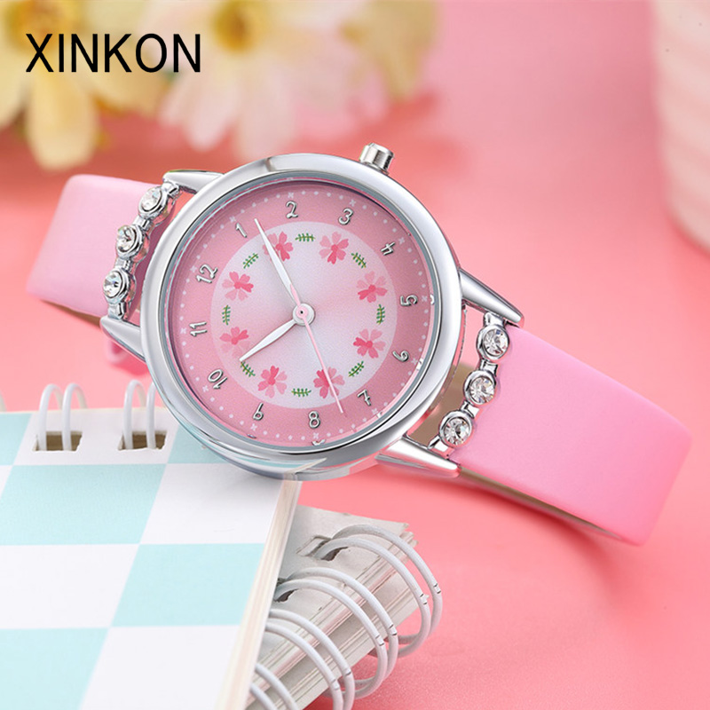 XINKON Fashion Kids Watches Children Watch Girls Leather Quartz Wrist Watch Students Gifts Present Cute Sweet Pink Dropshipping