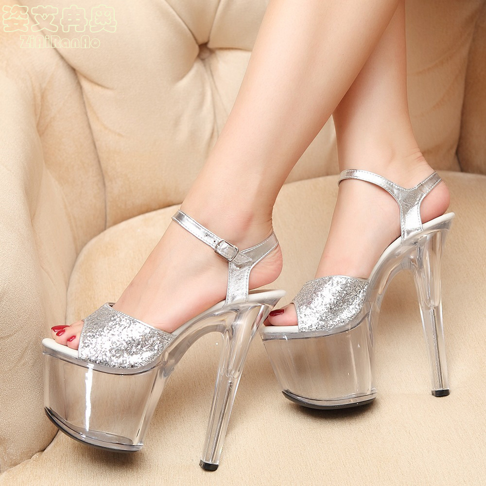ZIAIRANAO Nightclub Sexy Shoes Woman Summer Transparent Crystal Women's Sandals Big Size Bling Women Pumps 15 17 20CM High Heels phyanic bling glitter high heels 2017 silver wedding shoes woman summer platform women sandals sexy casual pumps phy4901