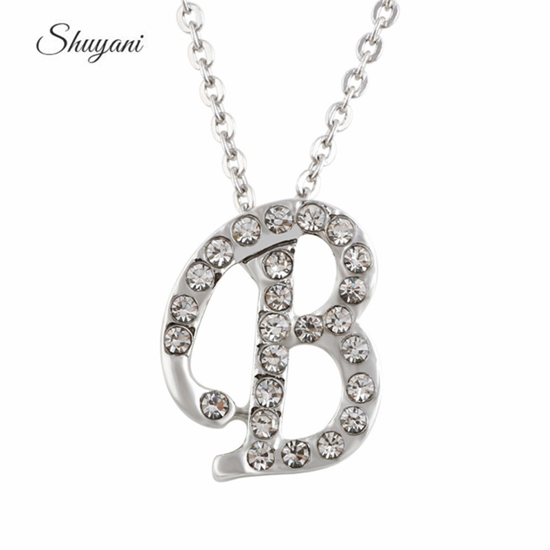 New Arrival 10Pcs /lot Crystal Initial B Pendant Charm Choker Necklace  Women Wholesale Gifts Accessory