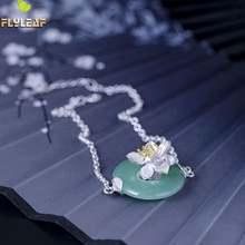 925 серебро натуральный нефрит цветок лотоса брелок браслеты