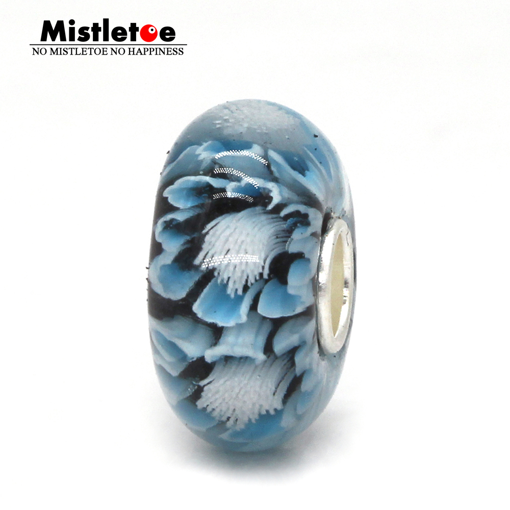 Mistletoe Jewelry 925 Sterling Silver Large Hole Light Blue 3D Flowers Murano Glass Charm Bead Fit European Bracelet стоимость