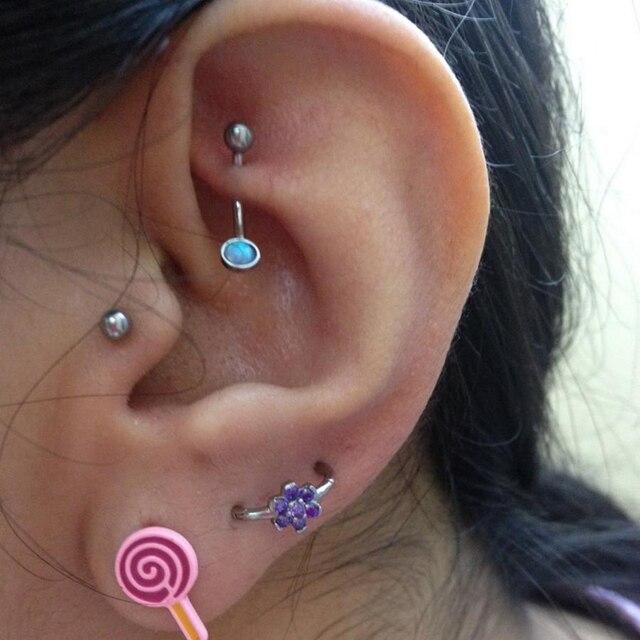 1Piece  Opal and CZ Gem Ear Tragus Cartilage Earring Stud  Eyebrow RingBody Piercing Jewelry with Internally Thread 16g 1