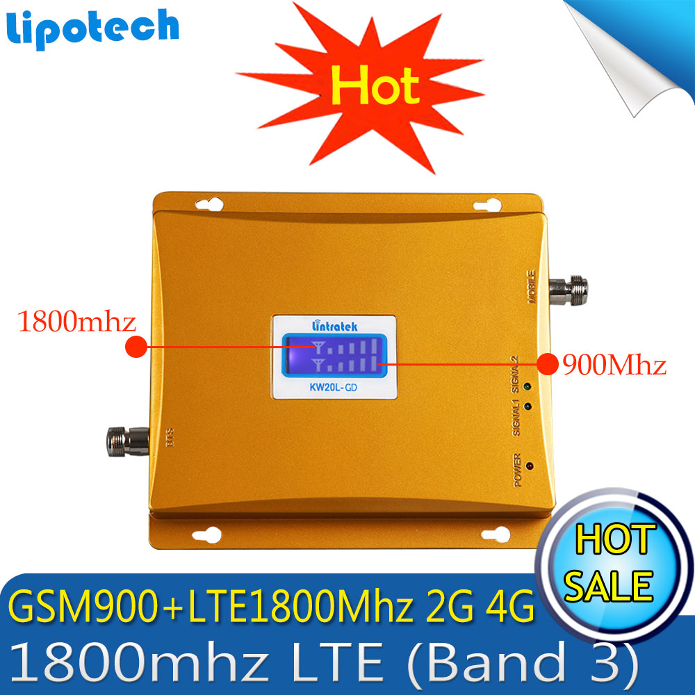 LCD Display 4G LTE 1800MHz 2G GSM 900Mhz Dual Band Mobile Phone Signal Booster GSM 900