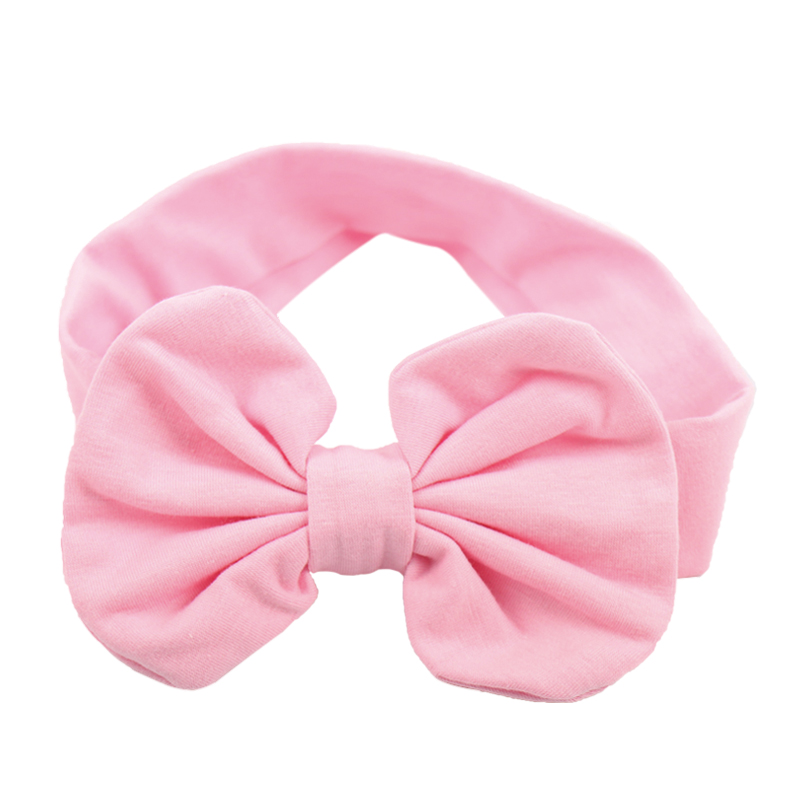Big Bow Plain Cotton Turban Headband For Girl Kids Stretch Hair Band Head Wrap Hair Accessories 1 pc women fashion elastic stretch plain rabbit bow style hair band headband turban hairband hair accessories