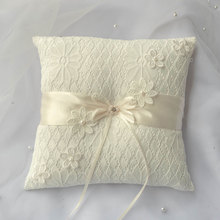Embroidery Flower Satin Pearl Wedding Ring Pillow Ivory Lace Cushion Bearer With Ribbon 8.26inch Engagement Gift Favor
