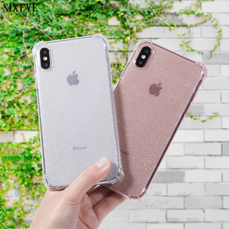 Luxury Glitter Case For IPhone 7 8 6 S 6S Plus IPhone X XR XS MAX Clear Super Shockproof