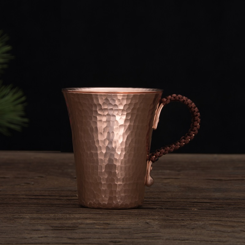1pc 500ml Handmade Thickened Pure Copper Water Tea Wine Beer Espresso  Coffee Cup With Copper Dishes Anti-scalding Handle