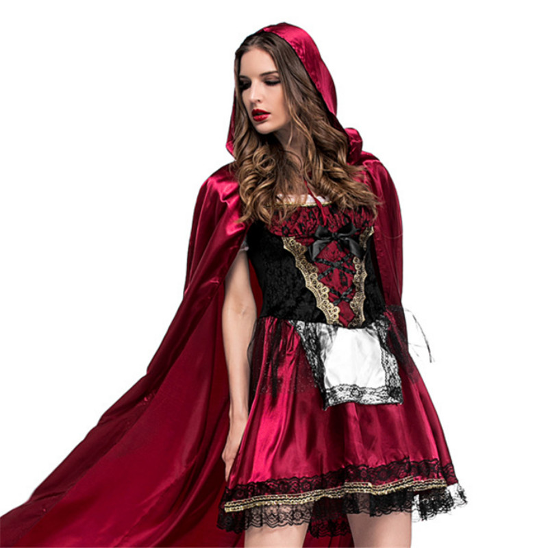 S-XL Large size Little Red Riding Hood Costume for Women Halloween Adult Cosplay Fantasia Dress+Cloak Cosplay Costume For Party