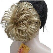 Strongbeauty грязный Curl Scrunchies наращивание волос булочка Blonde/коричневый парики Шиньон 4 цвета