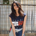 Сексуальные том джинсы белый красный Предел летом жилет девушки футболка мода рукавов одежды женщин