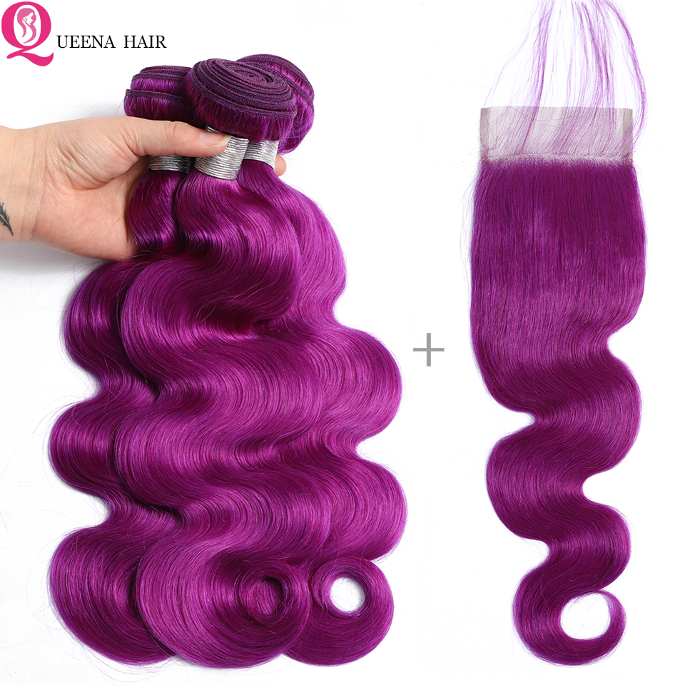 Colored Brazilian Human Hair Body Wave 3 Bundles With Closure Remy Hair Weave Purple Bundles With Lace Closure Baby Hair Queena