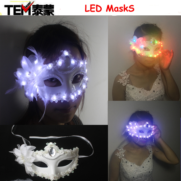 Free shipping 2017 Women Lady Light Up LED Mask Masquerade Carnival Venetian Ball Masks Flashing Party Wedding Halloween Christm
