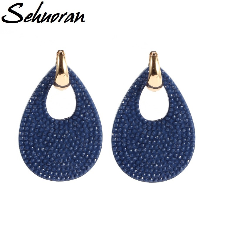 Sehuoran 2017New Hot sale earrings brincos big water drop earrings for woman Copper with resin pendientes