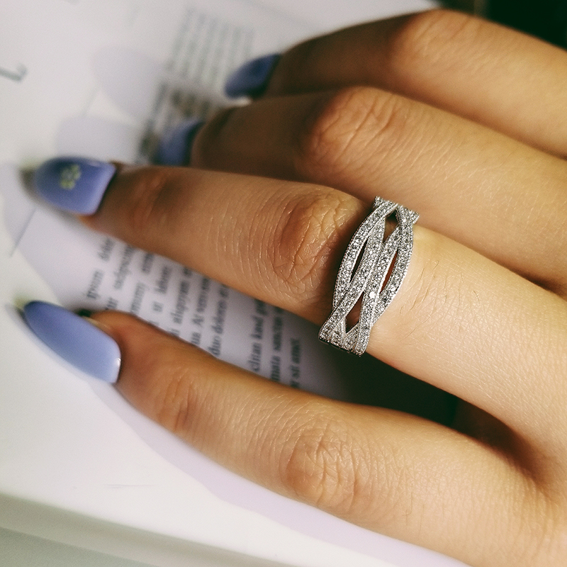 Solid Real Fashion 925 sterling sølv bryllup band evighed Ringe For Women Trendy finger Ring smykker sepcial unik R225