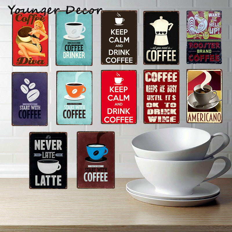 Us 3 99 40 Off Vintage Coffee Decor Americano Latte Rooster Brand Poster Metal Signs Bar Pub Cafe Family Home Wall Art Plaque Ya200 In