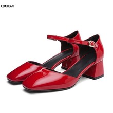 CDAXILAN new arrivals sandals women red beige black patent leather party buckle strap cover heel middle square shoes ladies
