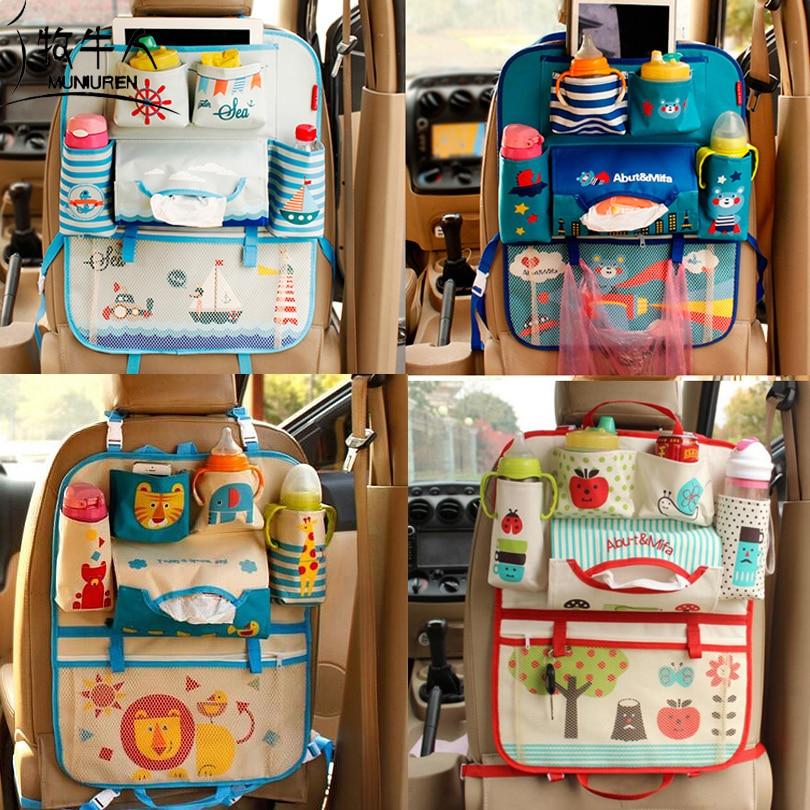 MUNIUREN Cute Cartoon Car Seat Back Organizer Storage Bags Hanging Car Organizador Bags Pocket Car styling for Kids Children