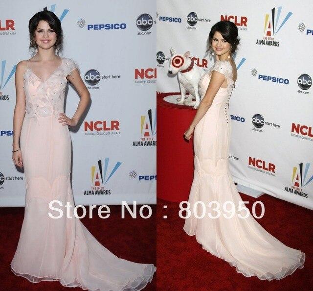 bdb06906f88b New Arrival One Shoulder Cap Sleeve V Neck Organza Mermaid 2017 Selena  Gomez Red Carpet Dresses