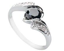 Female Black Stone 5*5mm Semi-precious Stone Silver Cool For Women Ring Q1976
