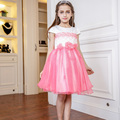Summer Girls Fairy Organza Dress Kids Lace Appliques Wedding Party Pageant Dress 4 Layer