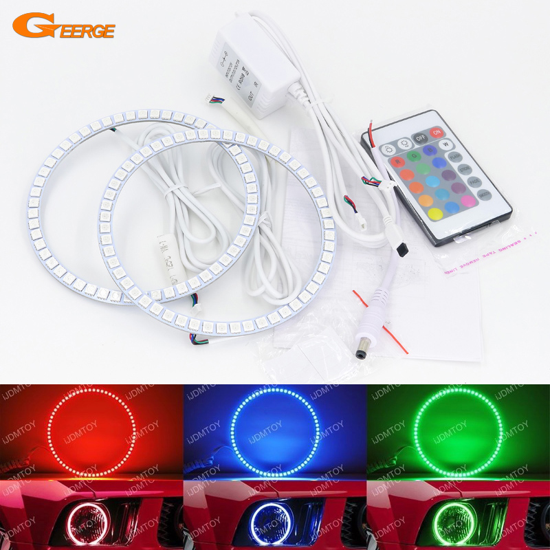 For Ford Mustang 2005 2006 2007 2008 2009 Excellent RGB LED Angel Eyes kit Multi-Color Ultra bright angel eye Halo Rings ford mustang v6 2011