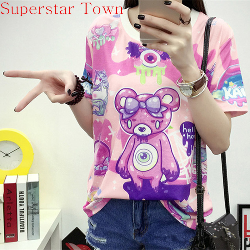 Harajuku Shirt Brand Clothing Women Polerones Mujer De Marca Cartoon Anime Tops Cotton Summer Casual Women T Shirt