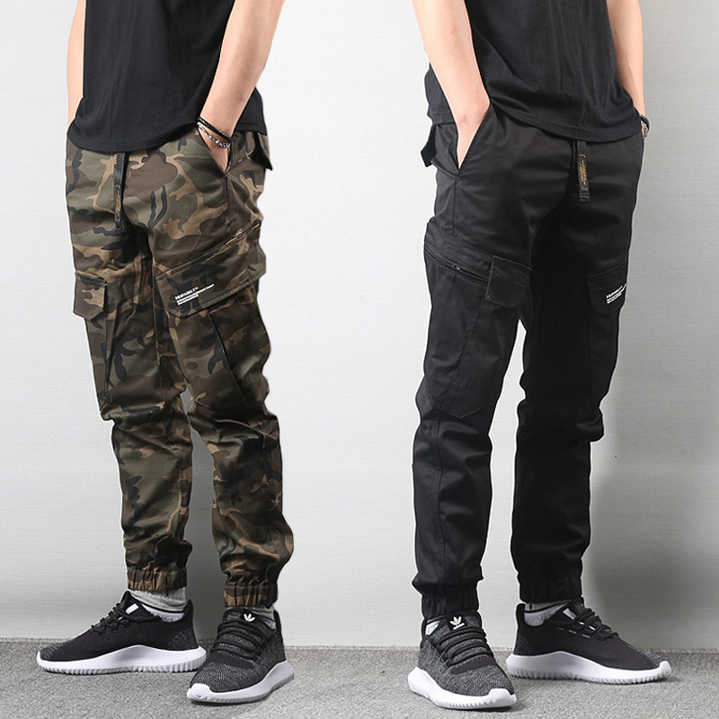 Japanese Style Fashion Men Jeans Camouflage Military Army Pants Big Pocket Cargo Pants Men Elastic Waist Hip Hop Jogger Pants