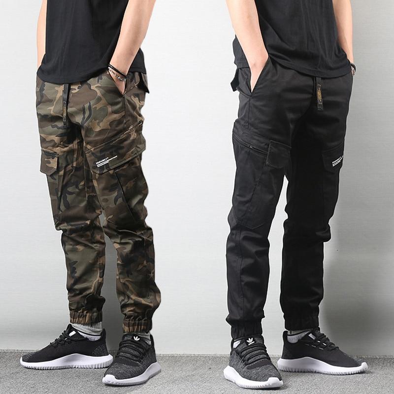 Japanese Style Fashion Men Jeans Camouflage Military Army Pants Big Pocket Cargo Pants Men Elastic Waist Hip Hop Jogger Pants