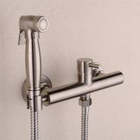 Brass Nickel Toilet Bidet Spray Hot & Cold Mixer Valve with Hose, Handheld Bidet , Portable Hand Held Bidet Shower Set