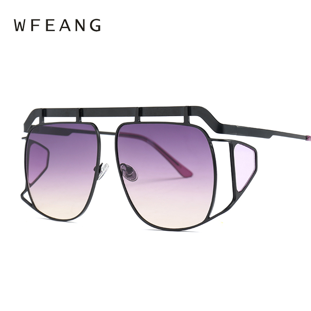 71dbc32bd90 WFEANG Brand Designer Decoration Women eye protector Sunglasses Fashion  Oversized Sun Glasses Ladies Clear Pink Shades Oculos