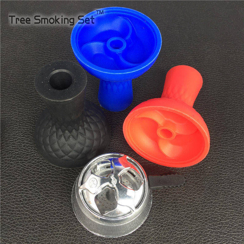 1 pcs Silicone Whirlwind Hookah Bowl With 1 pcs Silver kloud Charcoal Holder Coal Heater Metal <font><b>Smoke</b></font> Pot Weed Accessories
