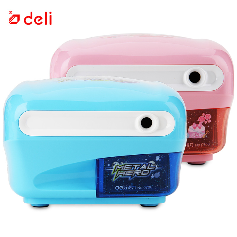 Deli Automatic Electric Pencil Sharpener Candy Color Battery Operated Desktop Supplies School Office Stationery Manual Sharpener deli 18 in 1 color pencil set