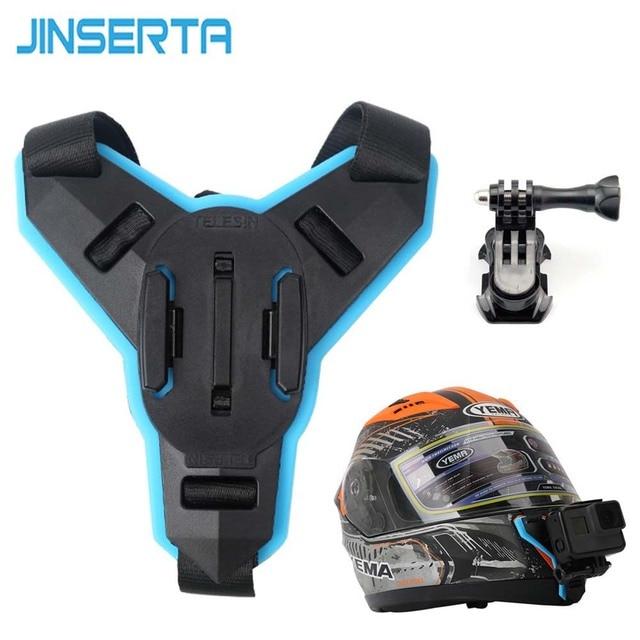 JINSERTA מלא פנים קסדת סנטר הר מחזיק עבור GoPro גיבור 8 SJCAM אופנוע קסדת סנטר לעמוד Gopro 6/5 מצלמה אבזר