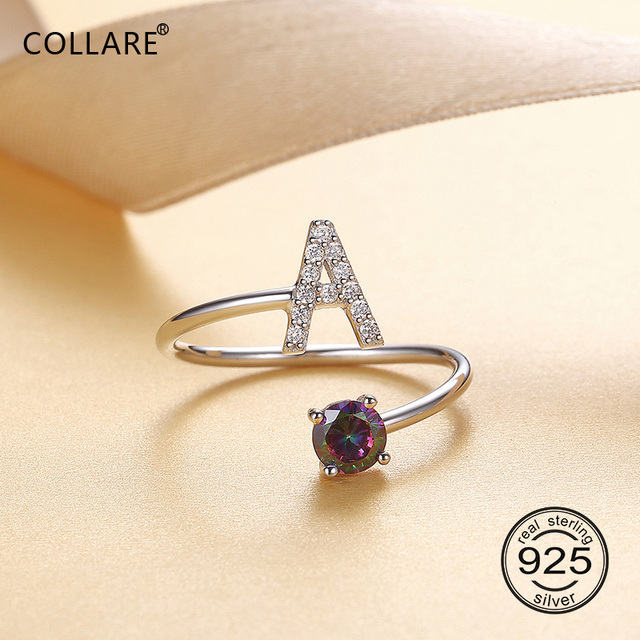 Collare 925 Sterling Silver Initial Letter A Z Rings For Women