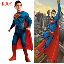 Boy Deluxe Muscle Superman Cosplay Halloween Costume for Kids Childrens Christmas Costumes Fancy Dress Jumpsuit with Cape anime(China)