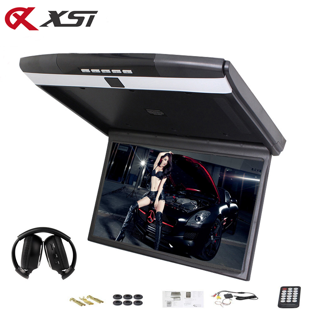 XST 17 3 Inch Car Roof Flip Down Ceiling Mount Monitor Support HD 1080P IR FM