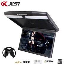 XST Monitor de techo abatible hacia abajo de 17,3 pulgadas para montaje en el techo soporte HD 1080P IR FM Transmisor USB SD HDMI micrófono de altavoz incorporado