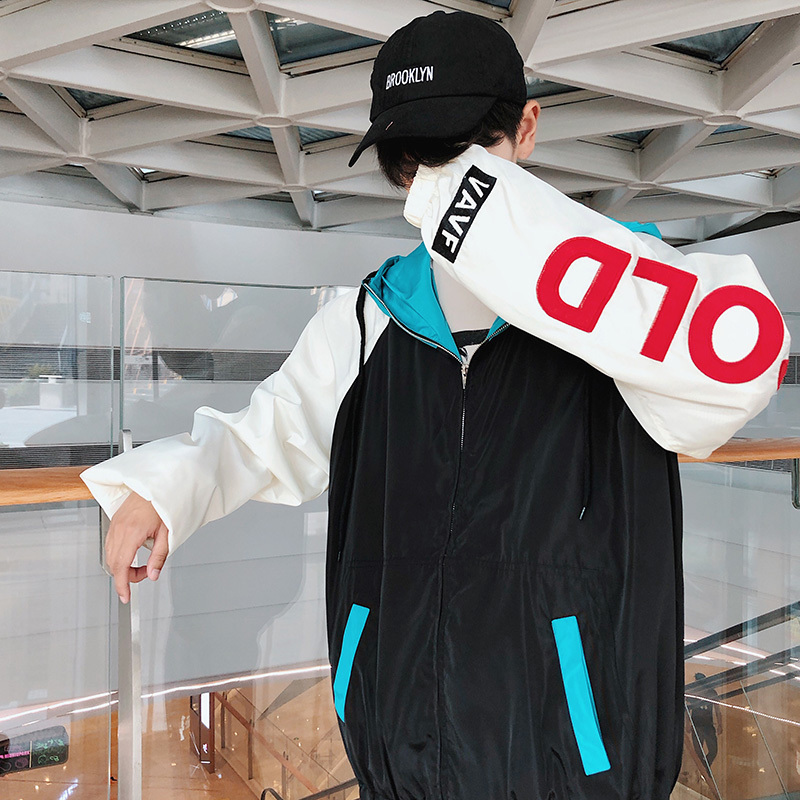 997044ab6f2 2018 Korean Men s Embroidery Letter Coat Spelling Color Hat Streetwear Brand  Bomber Jacket Hip-hop Style Loose Windbreaker M-2XL