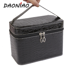 PU High Capacity Women Cosmetic Box At Home Solid color Goods Makeup Storage Box Daily Travel Storage Bags #b0003