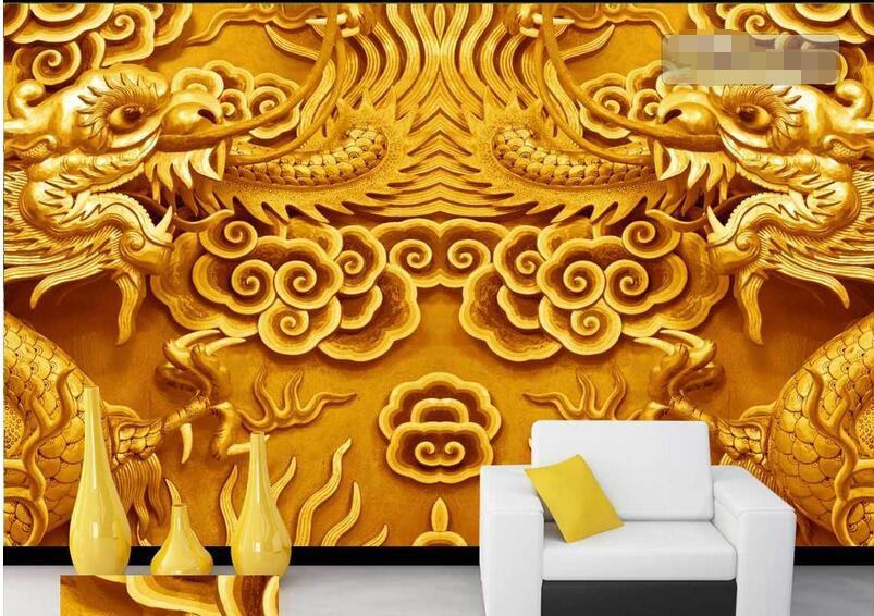 3d room wallpaper custom mural non woven wall sticker 3 d for Dragon mural wallpaper