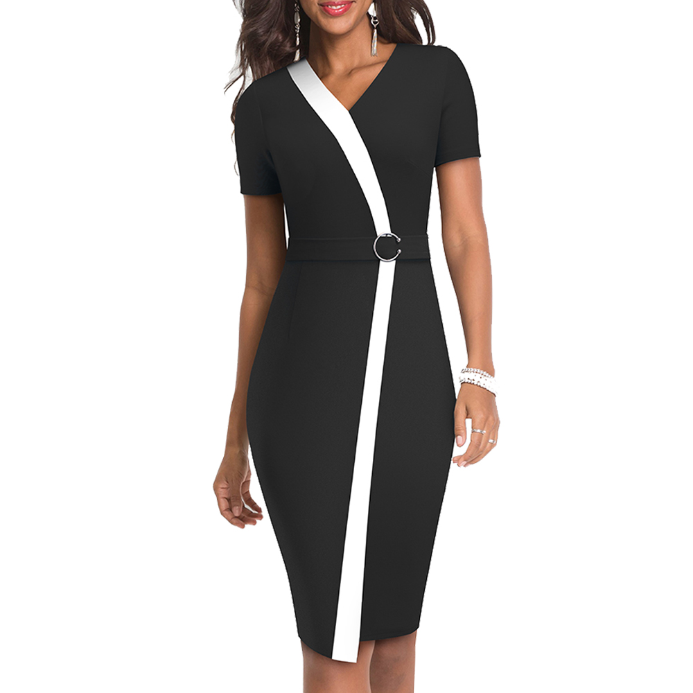 Summer Women Ring Patchwork Dress Elegant Work Office Short Sleeve Sheath Slim Pencil Dress EB539