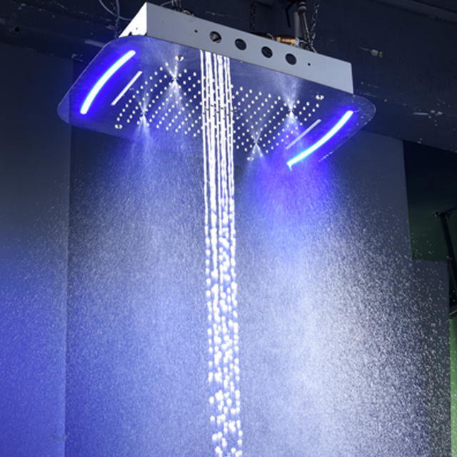 Bathroom Hotel Shower Head Concealed Big Rain 4 Functions Shower Panel With LED Lights 304 Stainless Steel Polished 710*430mm
