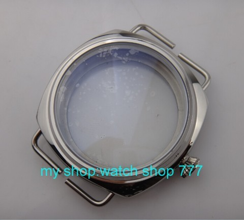 45mm parnis Polished Stainless Case Fit 6497 6498 Mechanical Hand Wind Movement hardened mineral glass watchcase