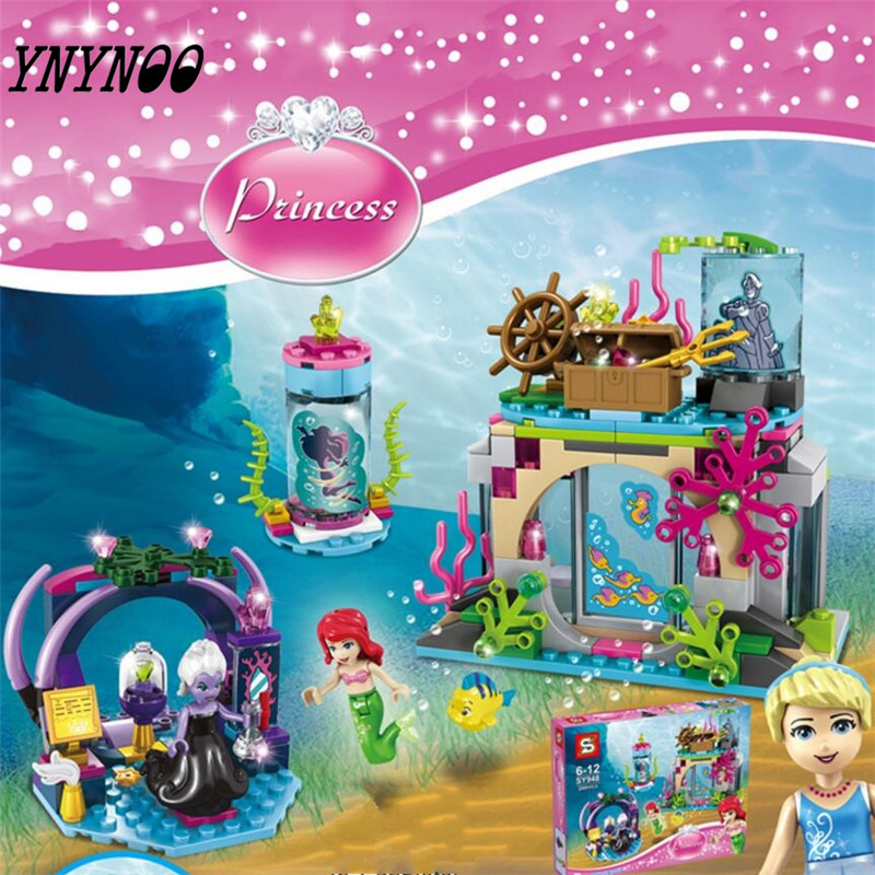 (YNYNOO) 244pcs Ariel And Magic Spell Girl Princess Series Model Building Blocks Gifts Toys Compatible Christmas gift ynynoo 305pcs 10430 the mystery machine scooby doo fred shaggy zombie zeke toys building blocks christmas gift sa562