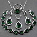 A Brillant Water Drop Created Emerald 925 Sterling Silver Four Piece Jewelry Set Earring Pendant Necklace Ring For Women JS90