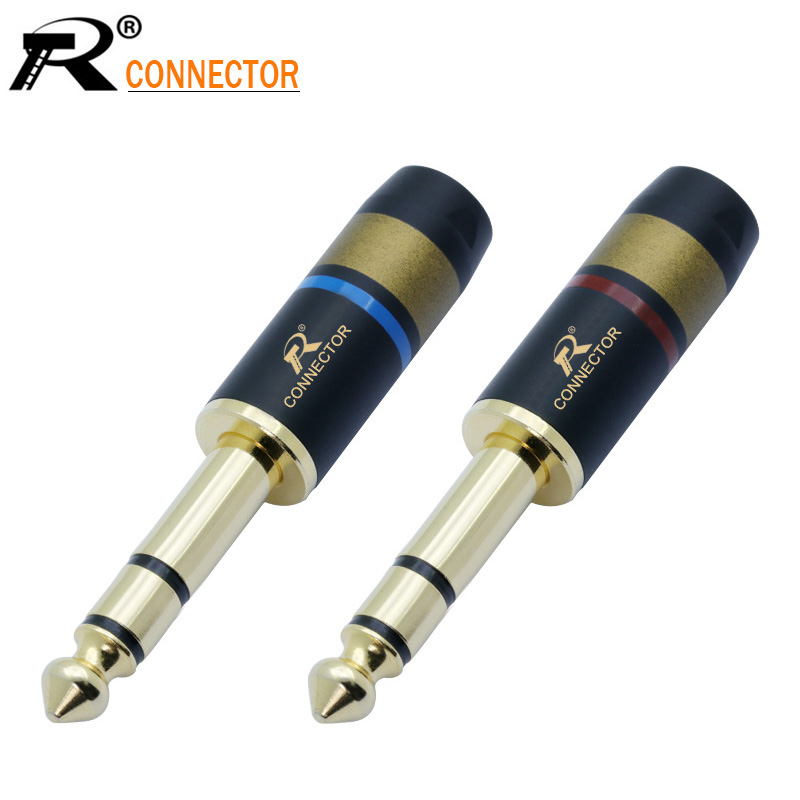1pair/2pcs 3 Pole Jack 6.35 Speaker Plug Gold-plated Audio Connector 6.35mm Stereo Jack Assembly Microphone Wire Connector