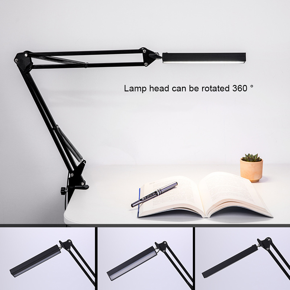 Adjustable Lamp LED Swing Arm Desk Lamp Dimmable Flexible Clamp Lamp for Architect Engineer Reading Office Folding Table Light