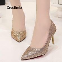 df2afa41e74 Cresfimix mujer tacones altos las mujeres lindo dulce de plata brillante de 7  cm de alto tacón Zapatos zapatos de novia de oro c.