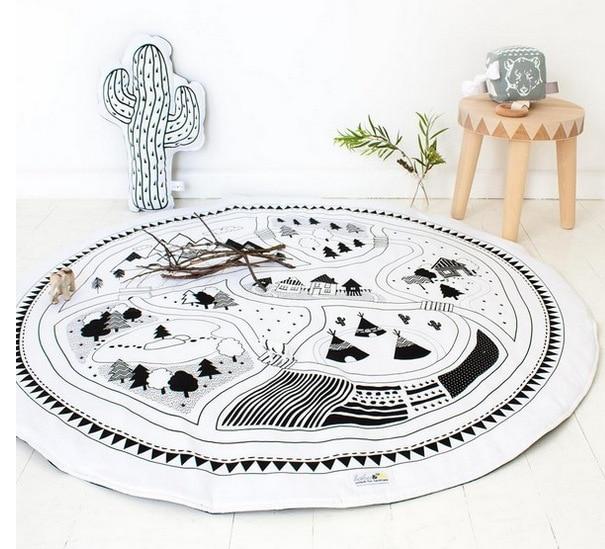 95 см детская игра коврики круглый коврик, мат хлопок Лебедь Ползания одеяло пол ковер для детской комнаты украшения INS подарки для малышей - Цвет: Forest 95cm